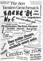 Kacke - Ausgabe 6 - Seite 01 - Fanzine - 1981