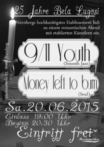 Flyer - 9-11 Youth - Bela Lugosi - Money Left To Burn - 2015