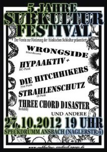 Flyer - Hitchhikers - HypaAktiv+ - Subkultur Festival - Ansbach - 2012