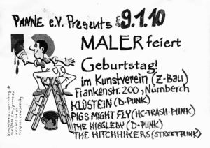 Flyer - Hitchhikers - Maler Geburtstag - Kunstverein - 2010