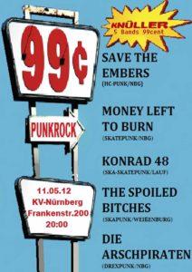 Flyer - Money Left To Burn - Arschpiraten - Kunstverein - 2012